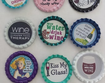 14 wine themed bottle cap magnets wino wine snob