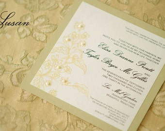 Floral, Ivory & Champaign Gold Wedding Invitation with Pearls