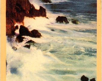 Southern California Picturesque Coast Line on Pacific Vintage Postcard (unused)