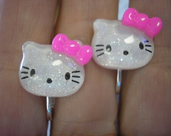 Play Earring - Clip - Kitty - White w/Pink Bow - 5/8""