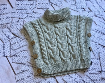 Hand knitted baby vest organic cotton 3-6m