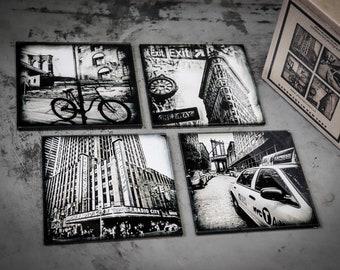 Glass coasters! Set of 4 original NY photo coasters - Radio City - Flatiron - Brooklyn Bridge - Manhattan Bridge