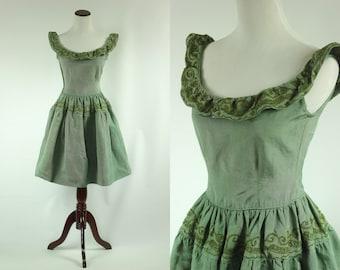 S a l e • 1950's Sage Green Ruffle Party Dress