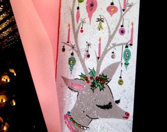6 Christmas Cards, Vintage Retro Card, Glitter Christmas Card, Jeweled Christmas Card, Vintage Christmas Card, Reindeer Christmas Card