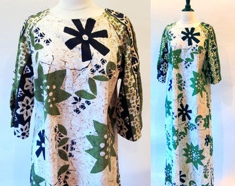 60s Hawaiian Beach Dress, Long Maxi Lounge wear, Flower Power Hippie, Free shipping