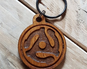 Keyring - Music - 45 Adapter. Gift for him and her. key ring fob