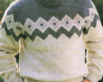 Mens Fair Isle, Raglan Style Sweater, Knitting Pattern. PDF Instant Download.