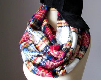 Plaid infinity scarf, check scarf, red and blue scarf, chunky, thick, very warm scarf, Winter accessories
