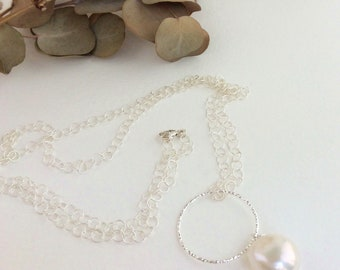 Long pearl necklace, Freshwater pearls, pearl necklace, long silver necklace, cable chain