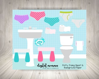 Potty Training Clipart Set, Bathroom Clipart, Under Wear, Panties Clipart, High Quality, PNG, Background Paper Included, Instant Download!