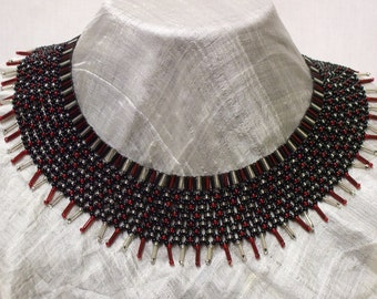 Latticework black, silver and red glass bead collar necklace