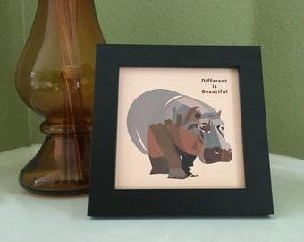 Hippo art, Hippo gifts, Hippo decor, Animal art, Motivational art for office, Safari animal prints, Animal lover gift, Hippo print, wildlife