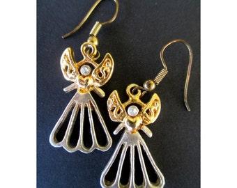 Angel Earrings * Dangle And Drop * Filigree * Gold And Silver Tone * Rhinestone * Angel Jewelry
