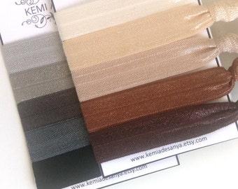 Neutral Hair Ties - Black Brown Elastic Hair Ties, Hair Accessories, Bachelorette Party, Ponytail Holder, Party Favors, Ties and Elastics