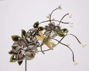 ON SALE - 49instead of 67 -beige Cherry blossom hair accessories clip- Geisha Maiko Kanzashi
