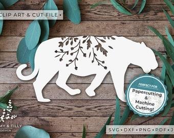 Tiger Silhouette - Clipart & Cut File - Hand Papercutting - Cricut / Silhouette - SVG DXF PNG Pdf Jpg - Kids Children Nursery