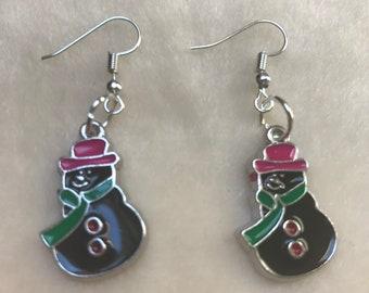 Snowman Earrings, Christmas Earrings, Winter Earrings, Christmas Snowman, Cute Earrings, Snowman Beads, Snowman Jewellery, Festive Earrings