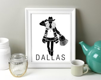 Dallas Art Printable, Dallas Art, Texas travel Art, City Art Printable,  8 x 10, Fashion Illustration, Dallas Fashion, Dallas Illustration