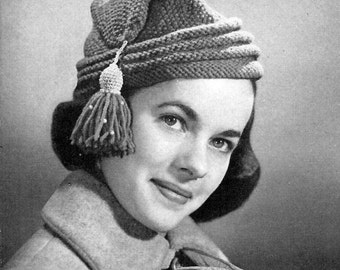 Women's l'Habitant Cap Knitting Pattern PDF Instant download / Vintage hat pattern / Knit Women's Cap Pattern / knitted cap pattern