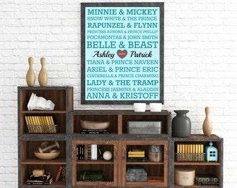 """Personalized """"Disney Couple/Best Friend"""" Wall Art"""