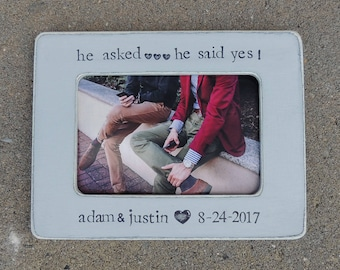 gay pride Engagement picture frame He said yes personalized picture frame gift Gay wedding Same sex marriage