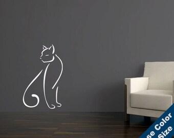 Elegant Cat Wall Decal - Vinyl Sticker - Free Shipping