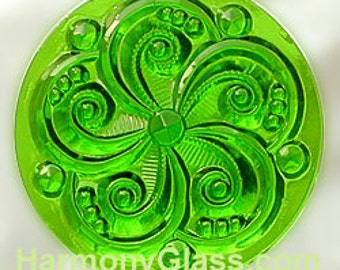 Swirly Green Stained Glass Jewel 35mm