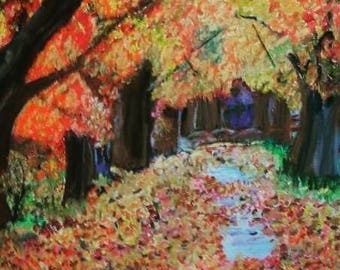 Giclee Print From Original Pastel-The Woods in Autumn-Neo Impressionism-Abstract Landscape