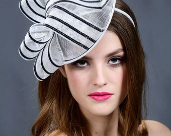 Black and white fascinator hat. Black and white saucer hat. Black and white Derby hat. Black and white Ascot hat- New 2018 collection!