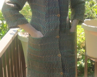 Button Front Dress, Handmade Using Naturally Dyed Fair Trade Fabric