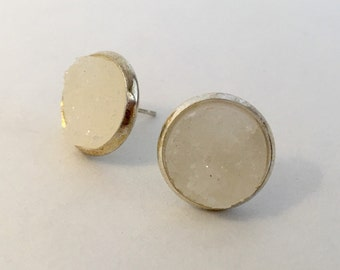 12mm white druzy earrings in silver settings