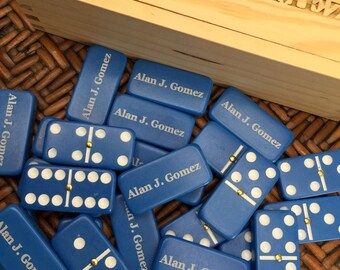 CUSTOMIZED Blue Dominoes, PERSONALIZED Wooden Box, Christmas, Holiday, Groomsmen Gift, Dominos, Family Game Night,