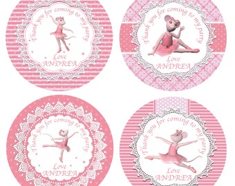 SALE - Angelina Ballerina Gift Tags / Favour Thank You Cards Dance party printable personalised party birthday label digital