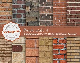 "Brick Texture Scrapbook Paper "" Brick Wall -1 "" digital background brick wall printable digital brick textures photography backdrop"