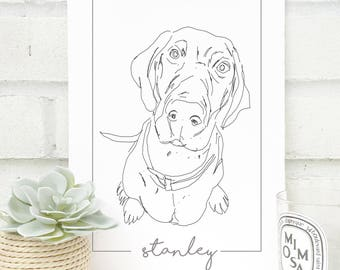Personalised Pointer Dog Print - Hand Drawn Print - Made to Order - Pointer Line Drawing - Dog Sketch - Pet Illustration -Line Drawing Print