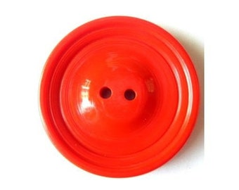 Vintage buttons, plastic buttons, xl, red to orange, 37mm, 5mm thick-choose quantity