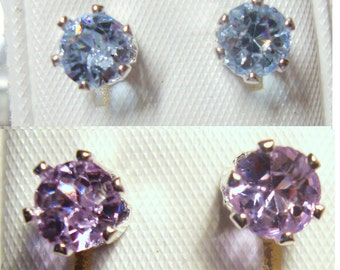 Earrings prong set alexandrite Color Change imitation stone custom sizes - posts studs - eco friendly sterling silver from recycled sources