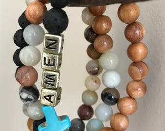 Amen Turquoise Cross*Custom Lava Stone Essential Oil Diffuser Bracelet*Faith*Your Word*Name*Initial*Gift*Personalized*Lava Stones*Boho*Wood