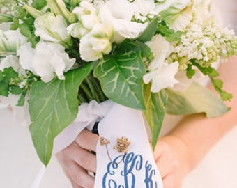 "custom monogrammed bouquet ribbon WITH WEDDING DATE (3"" wide grosgrain), bridal bouquet, bridesmaid bouquet"