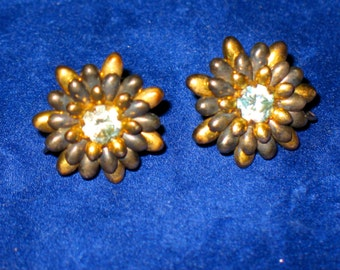 Pressed Sterling Silver and Gold Vermeil Layered Flower Screw Back Earrings 925