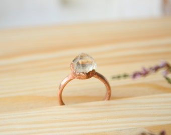 Electroformed quartz ring Raw quartz ring Electroformed quartz Electroformed ring Copper ring Raw stone ring Electroformed jewelry For her
