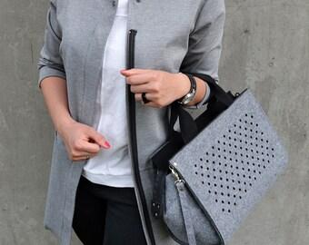 Felt bag, Grey felt bag, DotsPlumpBag, dot pattern, black handles, casual, hand bag, for women, dotted, medium size, for her,