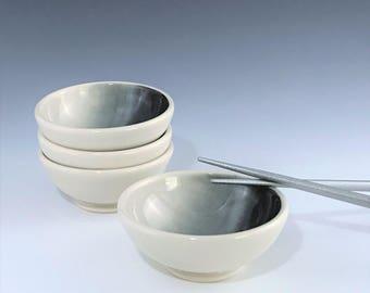 Ceramic Sauce Bowl, One Porcelain Sauce Dish, Gray Black and White Bowl, Small Ceramic Bowl, Ceramic Ring Holder, Wheel Thrown Pottery Bowl