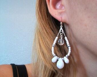 earring drop White Pearl silver hoop chiaradeco