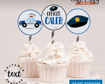 INSTANT DOWNLOAD - EDITABLE Police Birthday decorations Cupcake toppers Cops and robbers printable decorations Police party sign favor tags