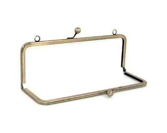 10 X 3.5 Inch Antique Brass  Purse Frame With Loops   FREE US SHIPPING
