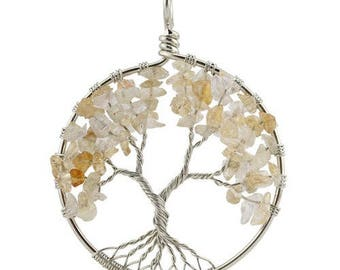 Tree of life silver plated - citrine pendant