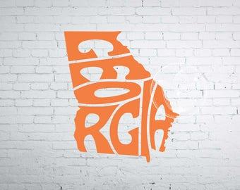 Digital Georgia Word Art, Georgia jpg, png, eps, svg, dxf, Georgia logo design, Georgia word in map shape, Georgia graphic lettering decor
