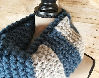 Chunky Infinity Scarf, Knit Scarf, Chunky Cowl, Blue and Grey Tweed Cowl, Infinity Scarf
