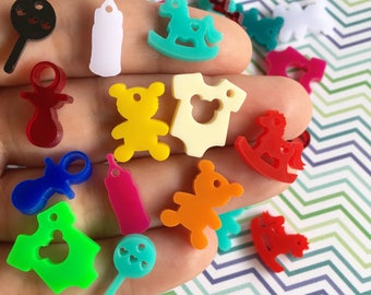 Mixed 12 BABY SHOWER laser cut acrylic charms (20mm)